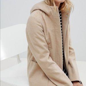 Tan peacoat with hood